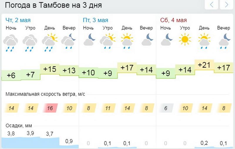 Тамбовчан в первые дни майских каникул ожидает теплая, но пасмурная погода