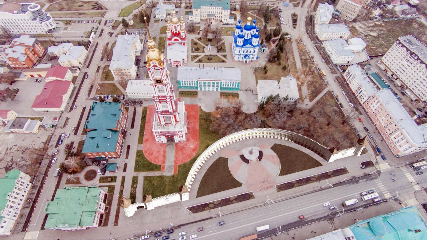 В центре Тамбова в память о тамбовчанах–героях могут установить полукруглую мемориальную стену и пять башен