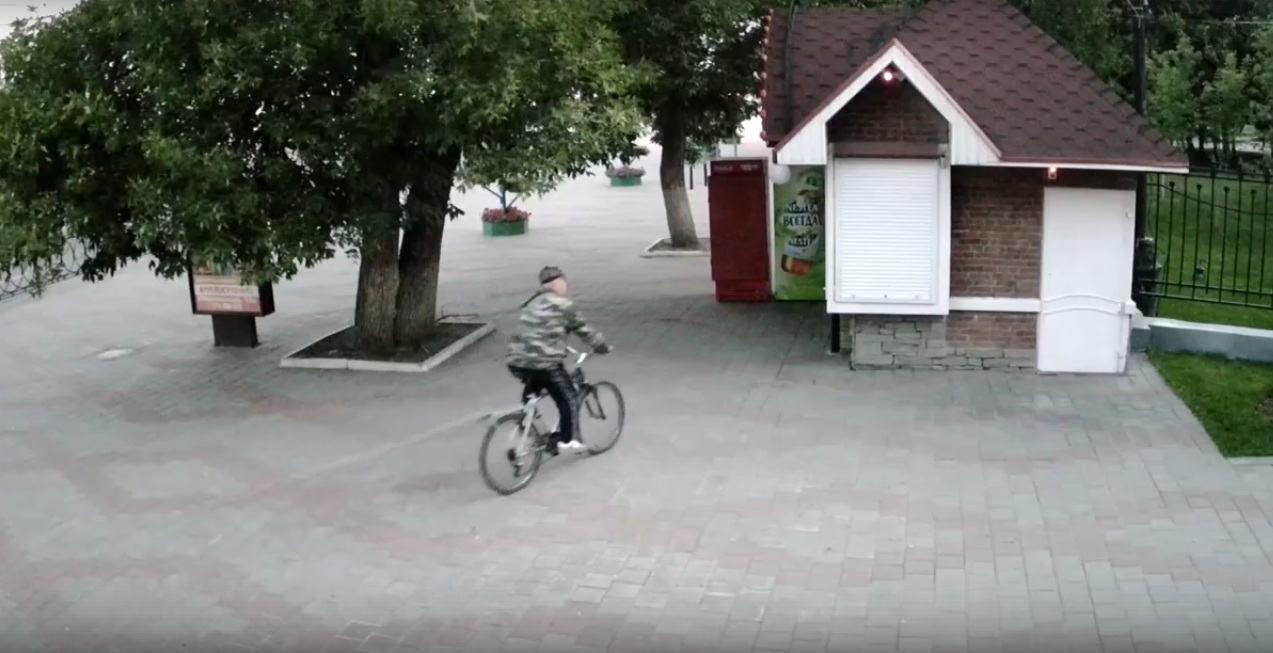 Пенсионер выкручивает лампочки у Парка культуры в Тамбове