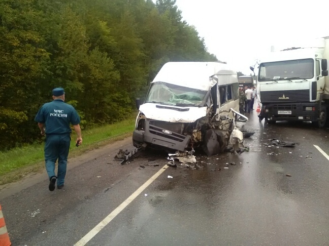 В Тамбовской области столкнулись фура и пассажирский микроавтобус: восемь пострадавших, трое в больнице