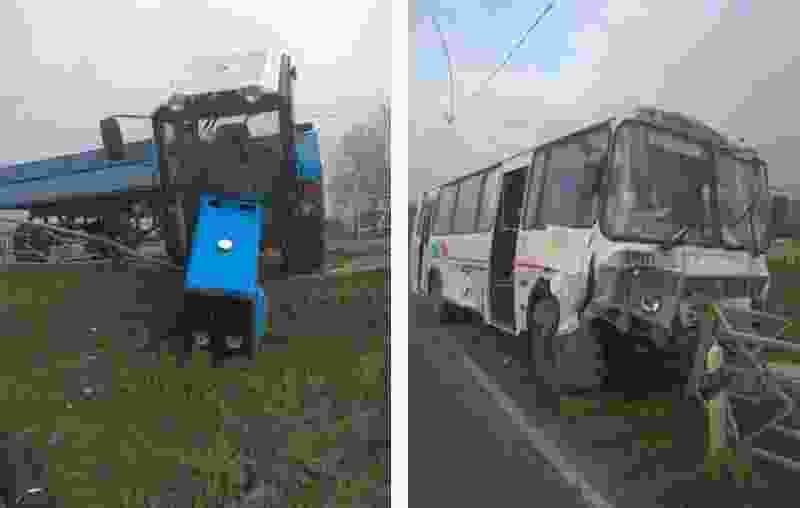 В Тамбовском районе автобус с пассажирами внутри при обгоне врезался в трактор и снёс столб