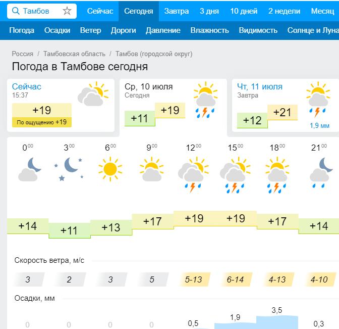 Синоптики обещают дожди в Тамбове до 19 июля