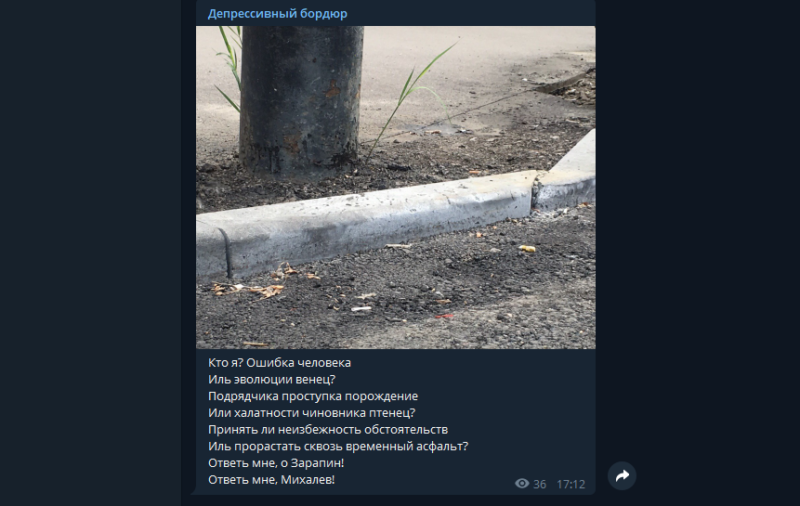 У Тамбовского бордюра появился свой телеграм-канал