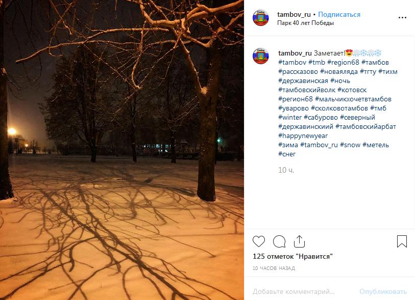 Репортаж из соцсетей: тамбовчане радуются снежной зиме
