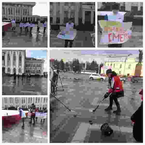 Тамбовские молодогвардейцы вышли с плакатами против снюса к зданию облдумы
