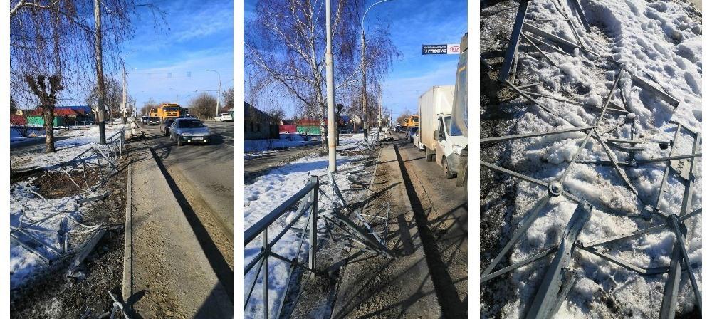 На западе Тамбова автокран снёс 15 метров дорожного ограждения