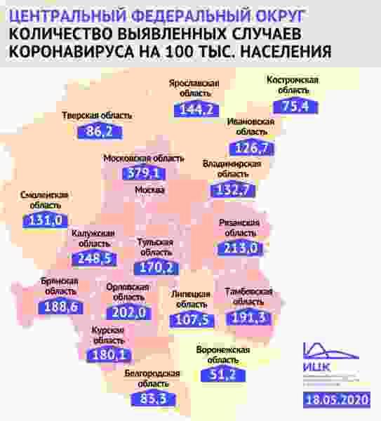 Федеральный оперштаб: в Тамбовской области около 200 человек на 100 тысяч болеют коронавирусом