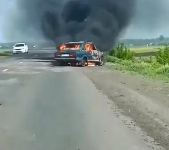 На трассе в Сосновском районе сгорел автомобиль