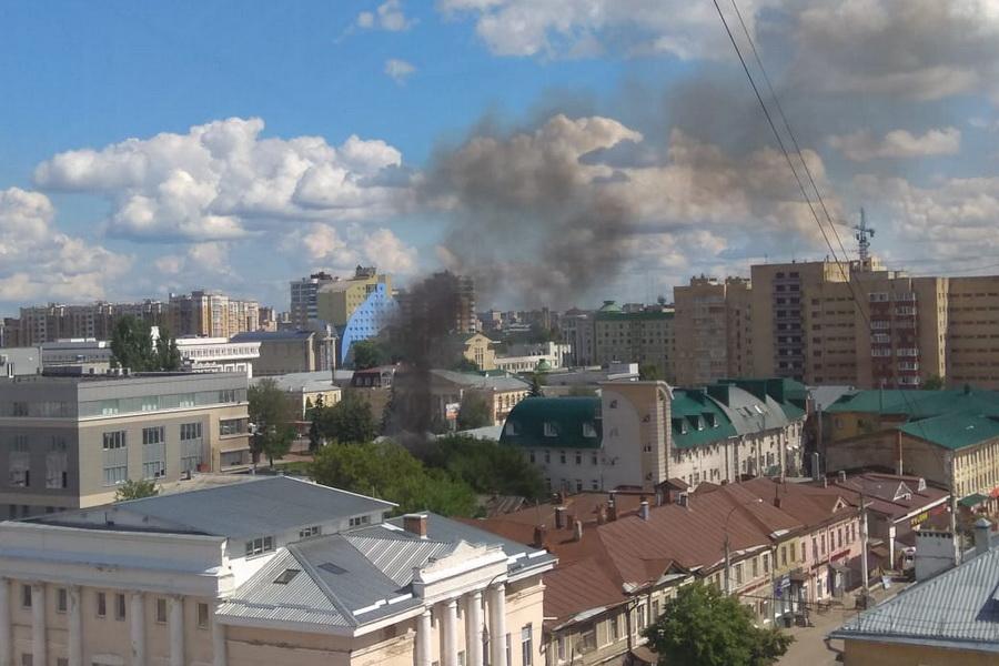 В историческом центре Тамбова произошел пожар