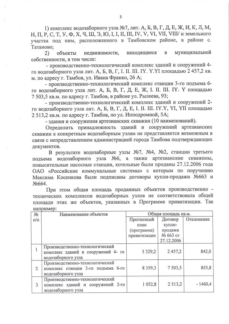 Депутаты направили следователям материалы по факту продажи тамбовских водозаборов