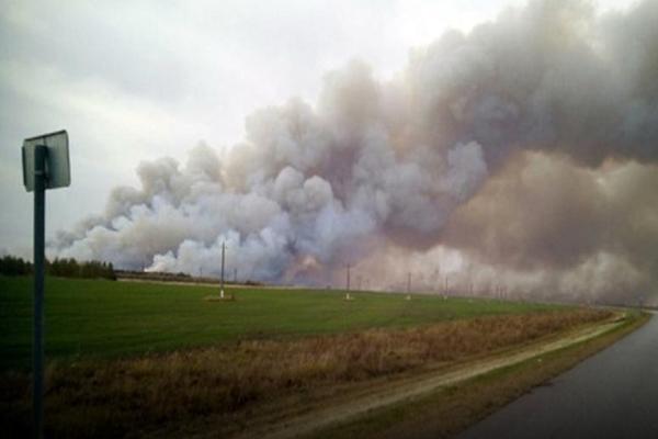 В соседней области зафиксировано возгорание на складе боеприпасов