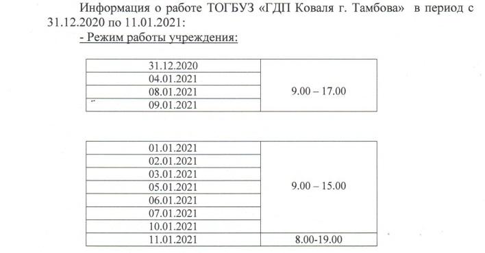 Стал известен график работы больниц и поликлиник Тамбова в новогодние праздники