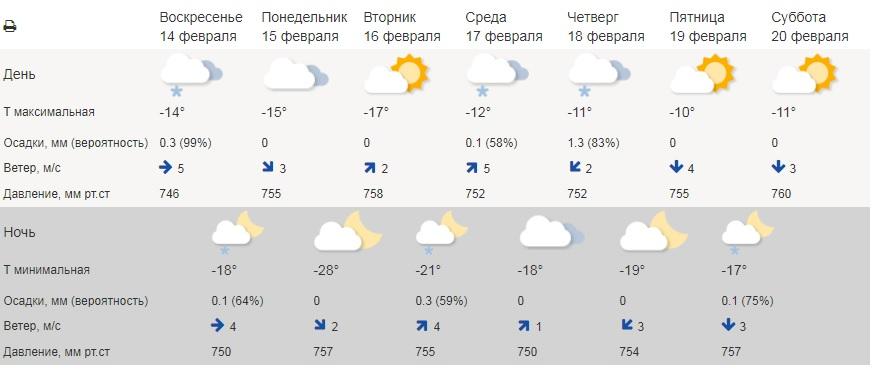 В Тамбовской области ожидается аномально холодная для февраля погода
