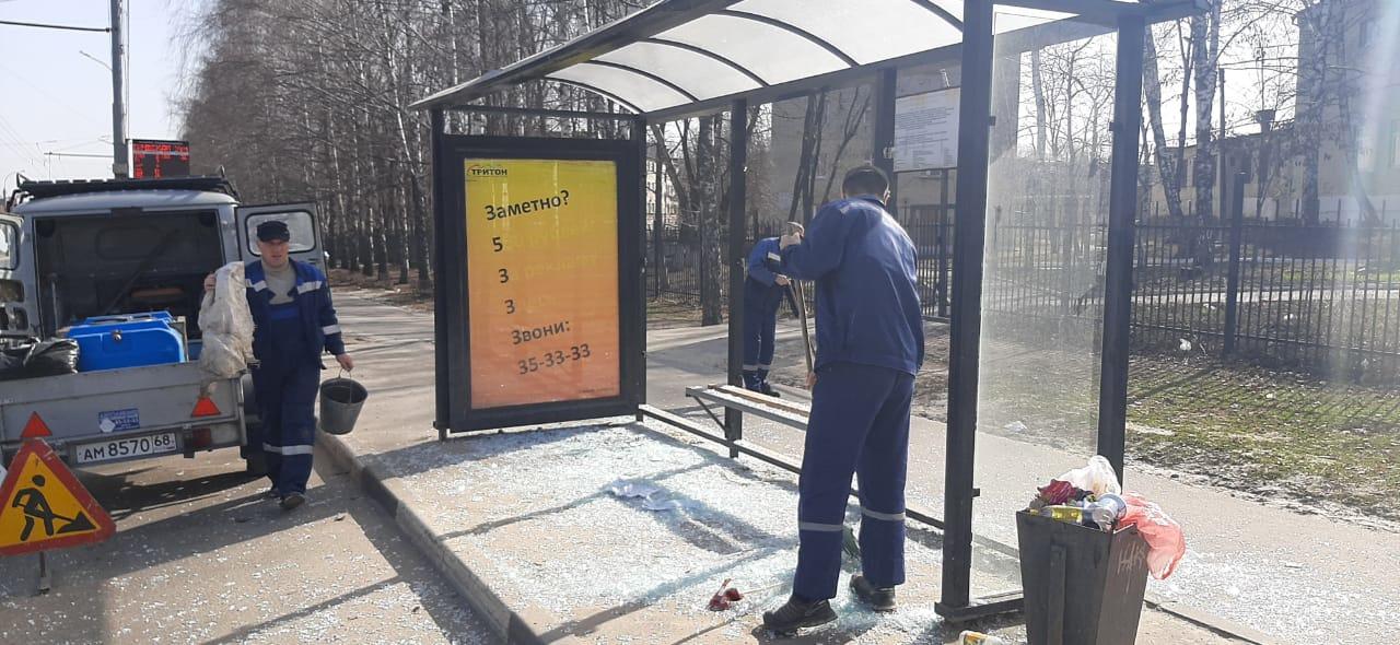 В Тамбове задержали вандала, разбившего остановку на бульваре Энтузиастов