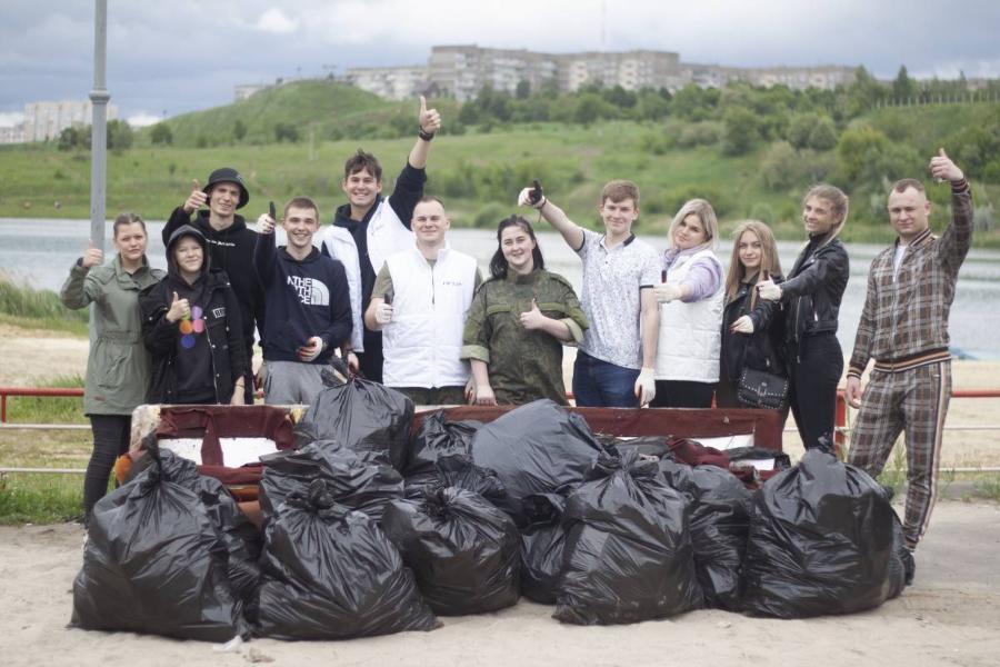 В Ласковском карьере собрали более 20 мешков мусора