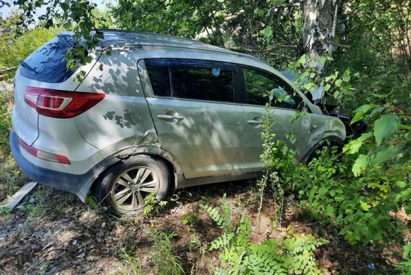 В Тамбовской области иномарка врезалась в дерево: двое пострадали