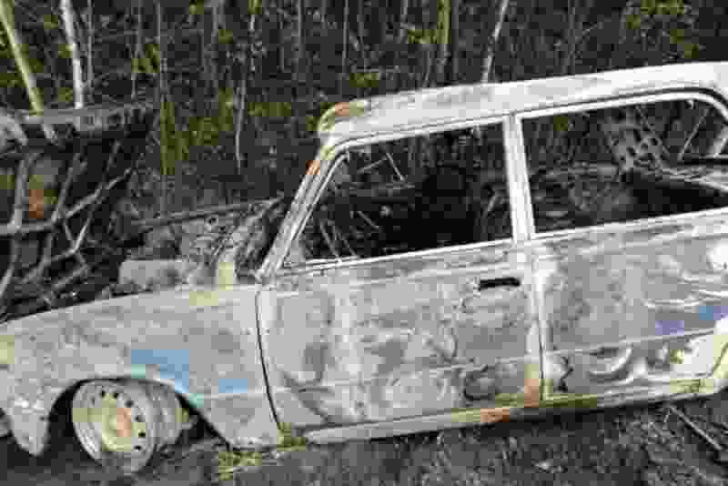 В Мичуринском районе «шестёрка» свалилась в кювет и сгорела