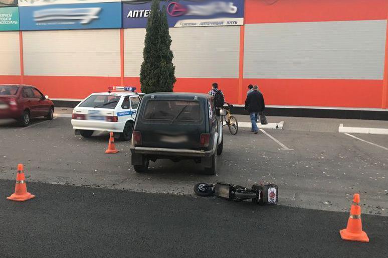 "В Мичуринске ""Нива"" протаранила электросамокат"